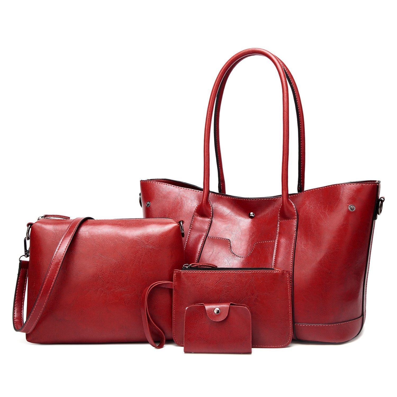 ELIMPAUL Designer Women Top Handle Leather Satchel Handbags Shoulder Bag 4pcs Messenger Tote Bag Purse