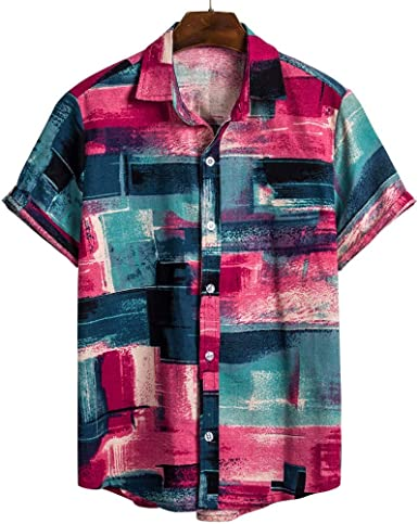 Men Ethnic Printed High Moisture Wicking Colorful Dot Aloha Hawaiian Shirt