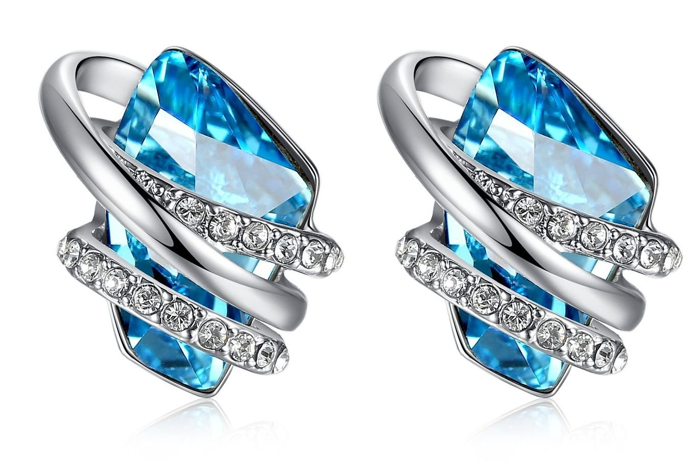 Leafael [Presented by Miss New York] Wish Stone Made with Swarovski Crystals Focal Shape Silver-tone Blue Earrings, Nickel/Lead/Allergy Free, Luxury Gift Box