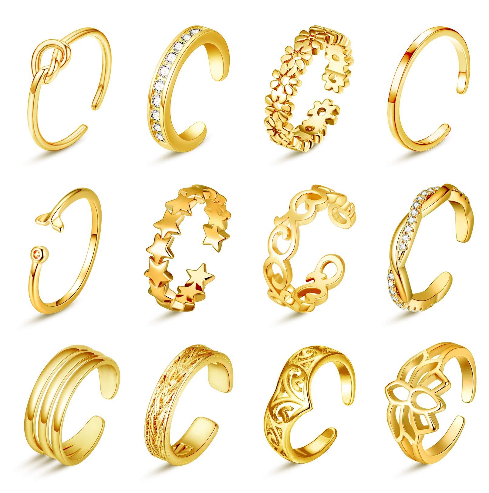 Honsny 12PCS Adjustable Toe Rings for Women Hypoallergenic Open Tail Ring Set Summer Beach Body Feet Jewelry