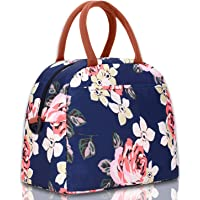 Elvira Insulated Lunch Tote Bag with Removable Adjustable Shoulder Strap (Beach-Peony Blue)