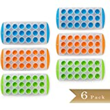 """Set of 6 - TrueCraftware Easy Push Out Ice Cube Molds / Pop Out Ice Cube Trays - Assorted Colors - 9.5"""" Pop Out Ice Trays"""