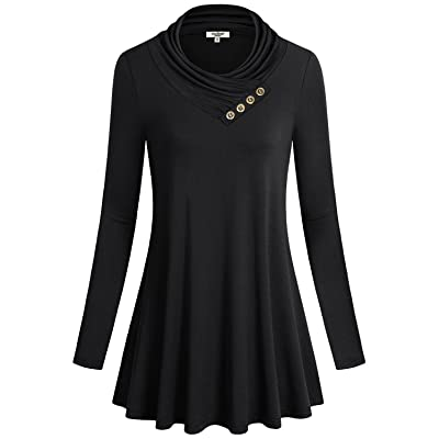 Anna Smith Women's Cowl Neck With Buttons Long Sleeve A Line Flared Hem Tunic Blouse Tops