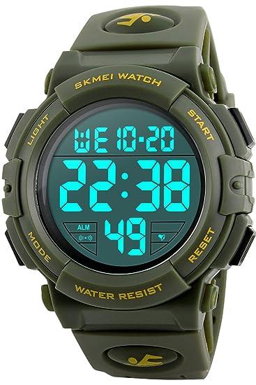 Reloj digital deportivo de hombre joven Cronómetro 5 ATM resistente al agua grandes hombres reloj de