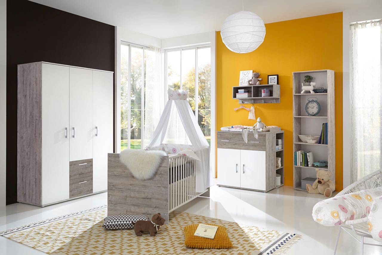 Babyzimmer, Kinderzimmer, Babymöbel, Komplett Set, Babyausstattung,  Babybett, Wickelkommode, Schrank, Mädchen, Junge, Weiß, Eiche Sand Günstig  Kaufen