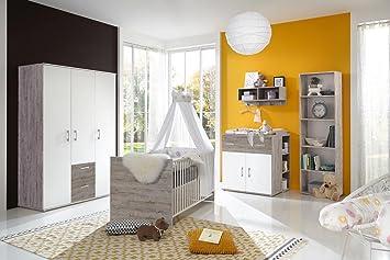 Babyzimmer Komplett Set Für Jungen U0026 Mädchen, Weiß, Grau, Möbel In Sand