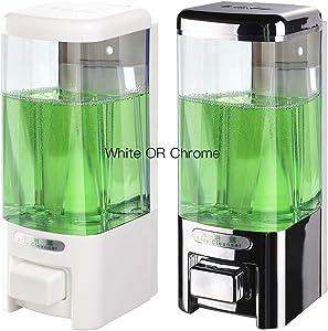SVAVO Wall Mount Soap Dispenser, Manual Liquid/Lotion Pump Sterilizer Hand Dispenser Shower Shampoo Lotion Gel Container for Bathroom Guestroom Hotel, 17fl.oz/500ml, White or Chrome