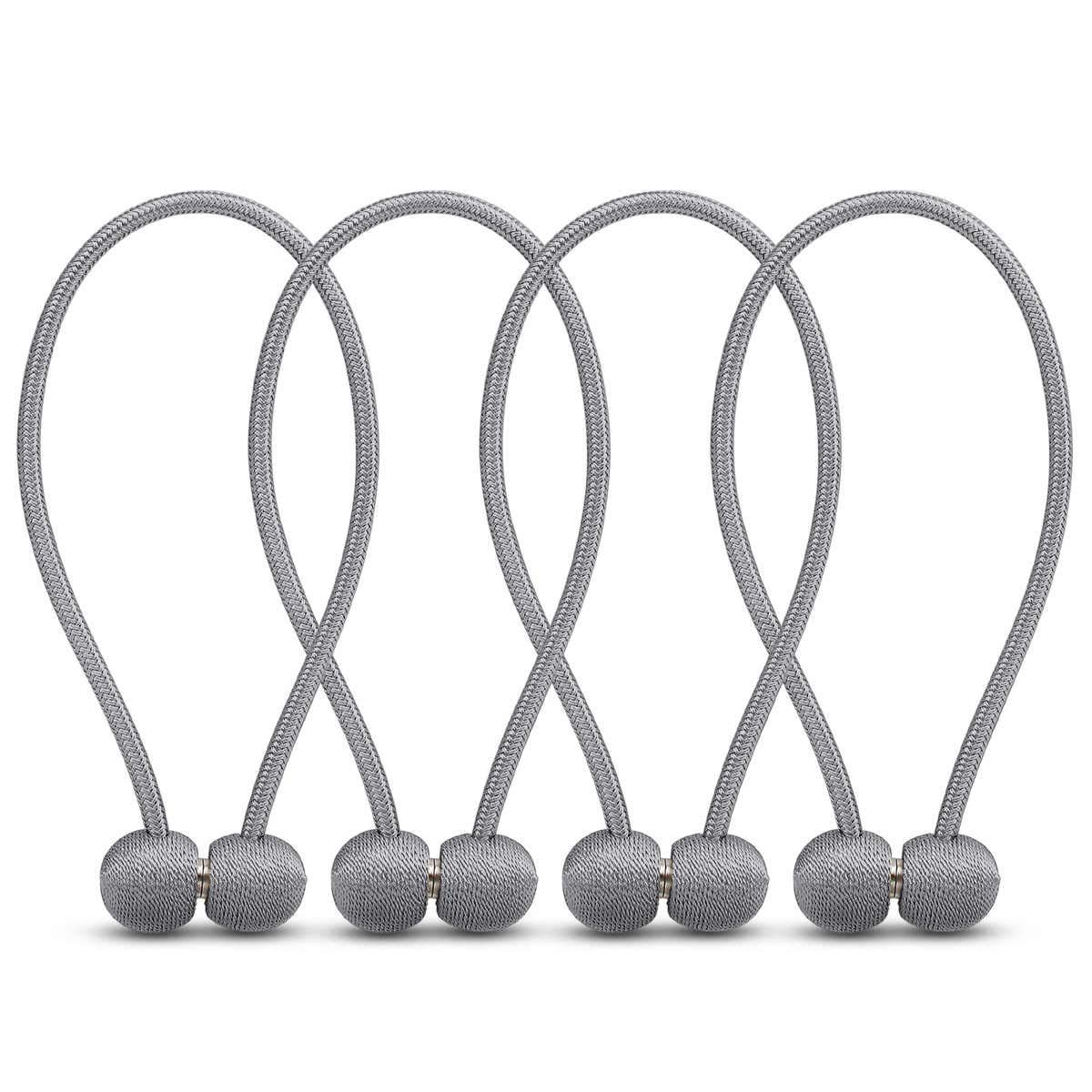 euow Window Curtain Buckle(4packs) Magnetic Curtain Tiebacks Buckle Simple Style Holdbacks,Decorative Rope Baffle/Used for Curtain Bed Curtain Net Fixing. (Gray)