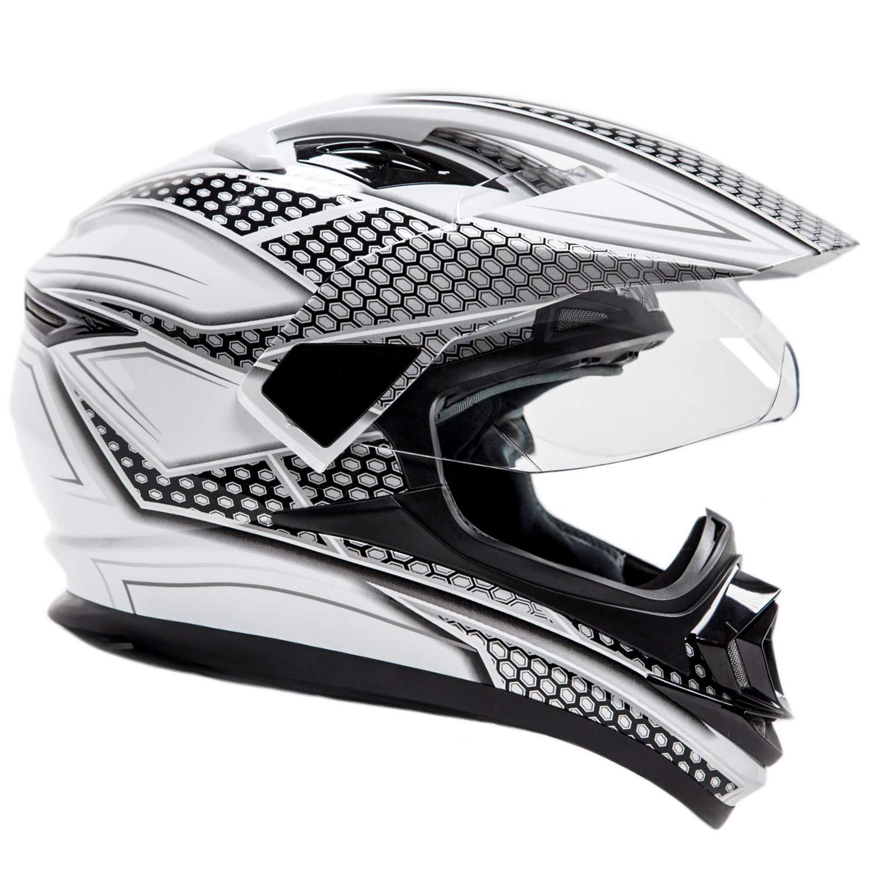 Full Face Dual Sport Helmet Off Road Motocross UTV ATV Motorcycle Enduro - Black & Silver - XXL