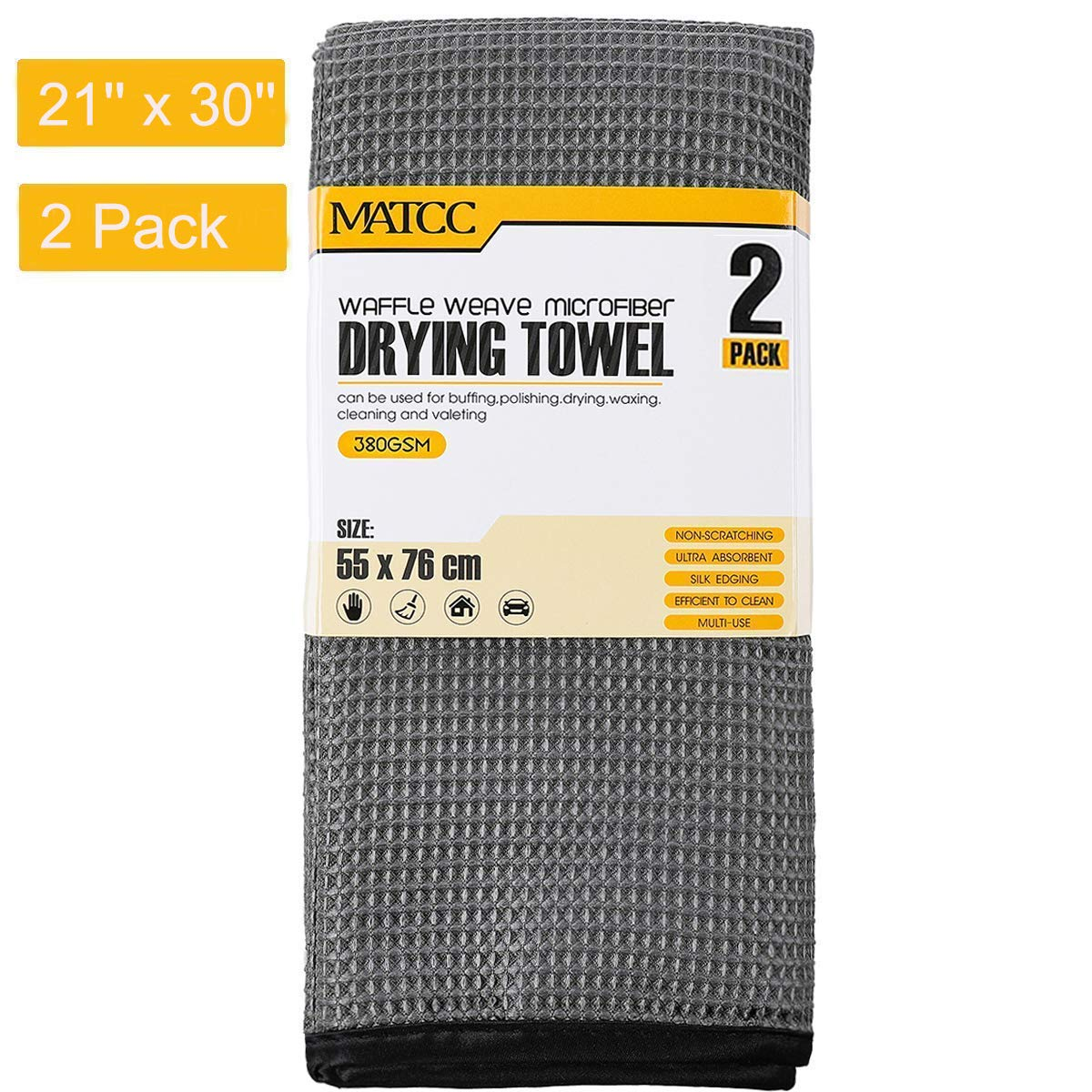 MATCC Microfiber Drying Towel Waffle Weave Large Microfiber Cleaning Cloths 2 Pack (21'' x 30'') Silk Edging Car Wash Detailing Towel for Washing Waxing Dusting Polishing and Drying Yomoid Co. Ltd