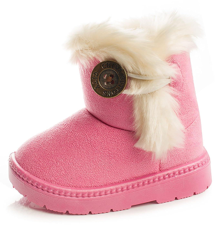 Toddler//Little Kids GESELLIE Girls Boys Winter Outdoor Fur Warm Button Snow Boots