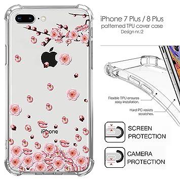 ac7e982692c Funda para iPhone 8 Plus, 7 Plus Coloreado Floral Patrón Carcasa a Prueba  de Golpes, ...