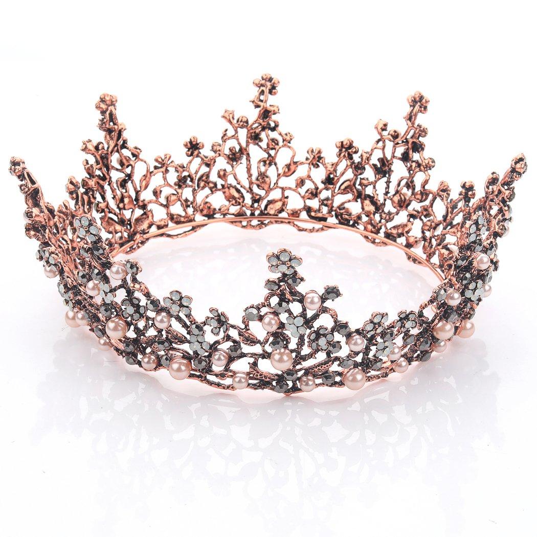 greestore 60th cumplea/ños Tiara Corona Cristal Rhinestone Tiara con peine de pelo plateado