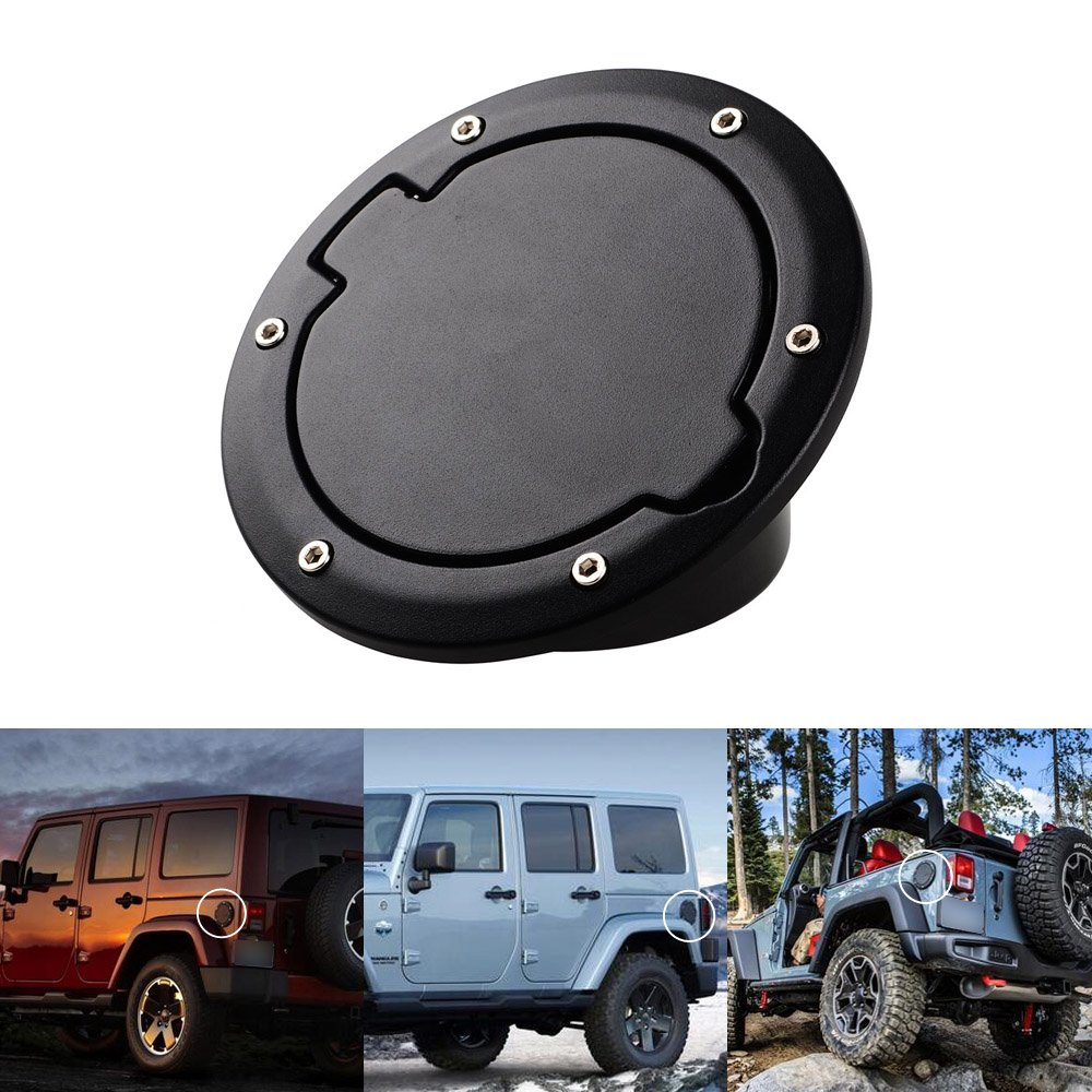 Black Fuel Filler Door Gas Tank Cap Cover Compatible with 2007-2017 Jeep Wrangler JK/ Rubicon Sahara /& Unlimited