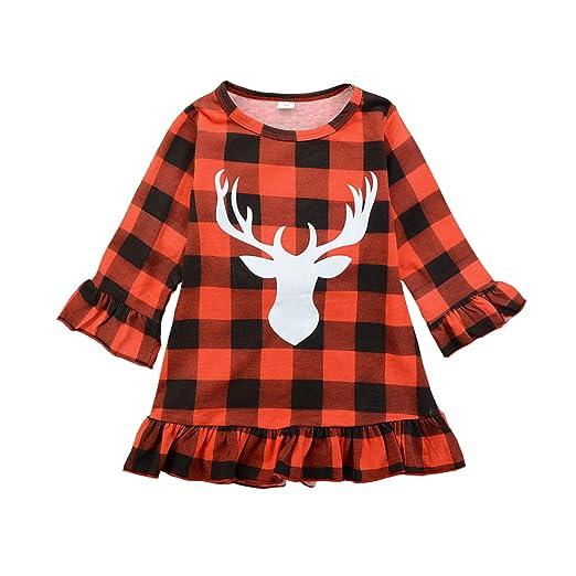 9c59128ae06b Kids Toddle Baby Girls Christmas Dress Outfit Long Sleeve Red Plaid Ruffled  Deer Print Skirt Tutu