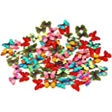 OOOUSE Pack of 50PCS Buttons-Mixed Wood Buttons Sewing Scrapbooking 2 Holes (onesize, Colorful)