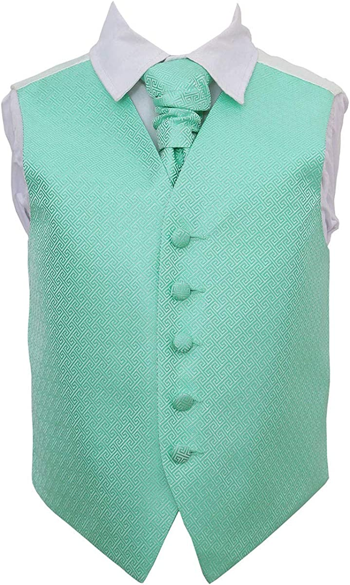 DQT Greek Key Patterned Mint Green Boys Wedding Waistcoat /& Cravat