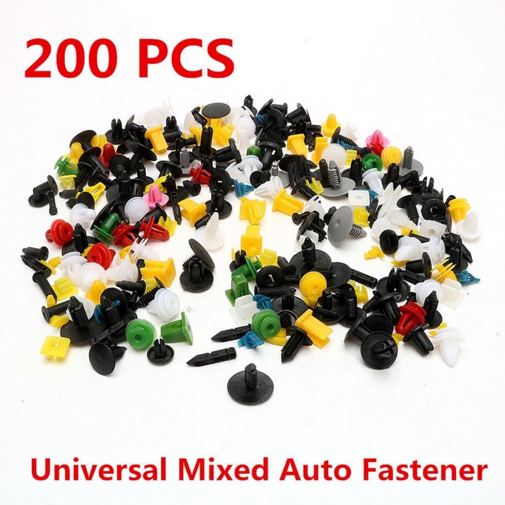 kangql 200PCS universale colore misto borsa clip di fissaggio auto paraurti porta pannello rivetti/ /Mix color