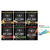 Country Archer All Natural Beef Jerky Variety Pack of 6 Sweet Jalapeno , Crushed Red Pepper , Sriracha , Teriyaki , Mango Habanero , Original Grass Fed Beef