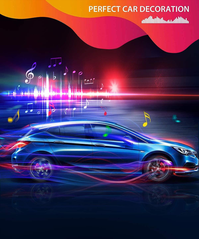 Govee LED Innenbeleuchtung Auto 12V 4pcs 48 LED Auto LED Strip Wasserdicht Beleuchtung APP Steuerbare mehrfarbig Musik Innenbeleuchtung mit Zigarettenanz/ünder Upgrade Zwei-Linien-Design