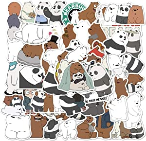 We Bare Bears Stickers Cartoon Anime Stickers Laptop Bedroom Wardrobe Car Skateboard Motorcycle Bicycle Mobile Phone Luggage Guitar DIY Decal for Teens, Water Bottles, Computer (We Bare Bears)
