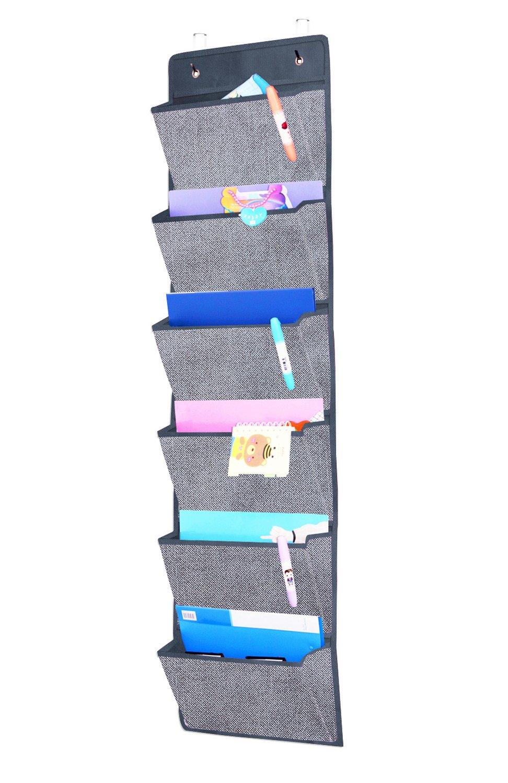 homyfort Portariviste da parete, Portaoggetti da appendere con 6 tasche, Tasche portatutto da porta, Organizer da porta, Portaoggetti da appendere con 6 scomparti, organizer ufficio, Grigio, MAGAZINE1