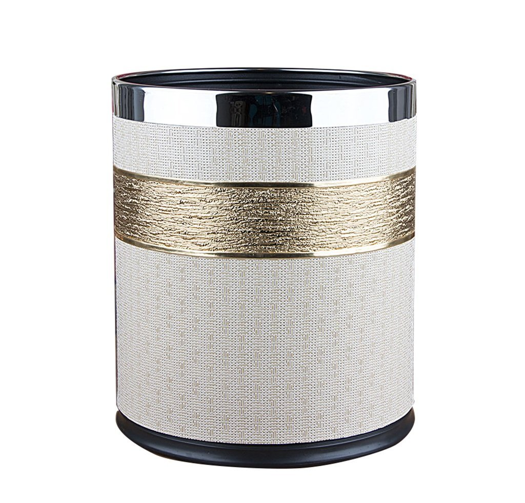 CSQ Creative Trash Can, Beige Leather Double Layer Trash Can Household Hotel Lobby Bathroom Office Free Pedaling Trash Can 10L (Color : A)
