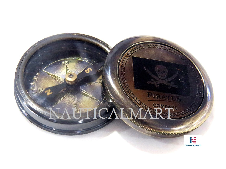Pirated Brass Pocket Compass - NauticalMart Antique Compass
