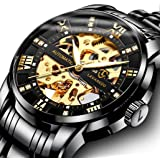 Men's Watch Luxury Mechanical Stainless Steel Skeleton Waterproof Automatic Self-Winding Rome Number Diamond Dial Wrist…