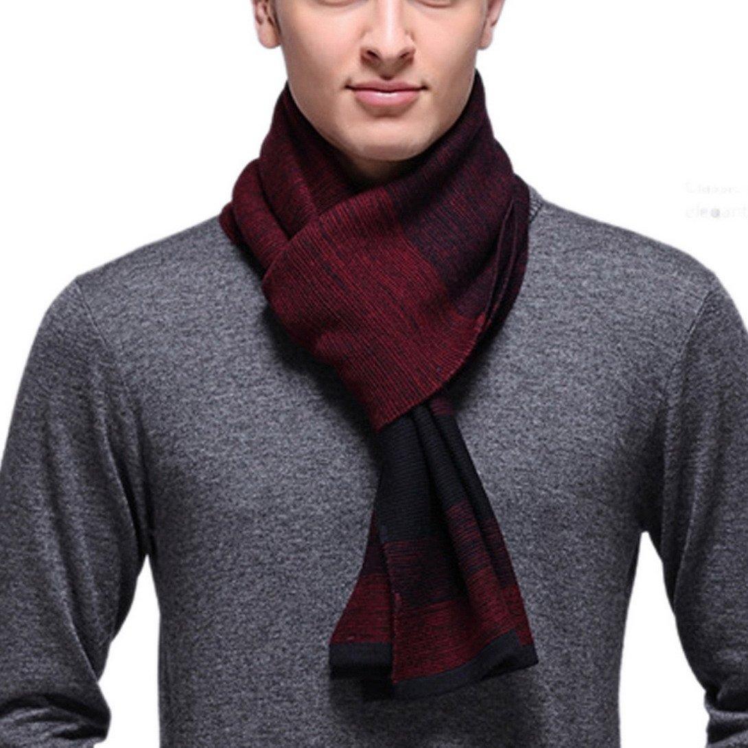 PENAGY Men Winter Fashion Scarves Super Woollen Multicolor Stripe Scarf Shawl-Blue&Dark Red