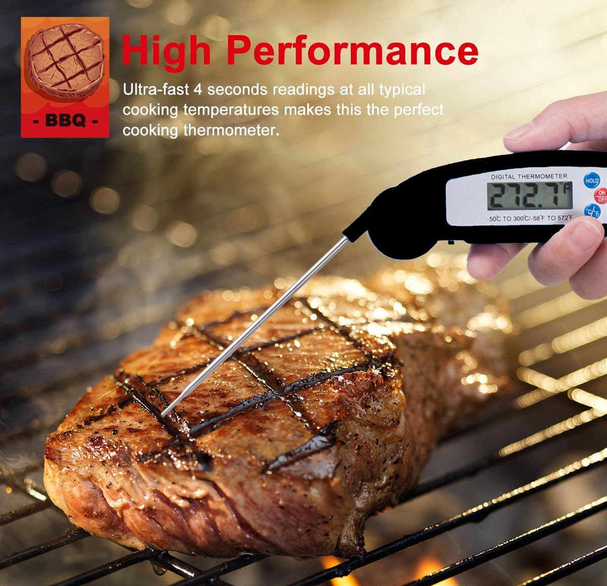 Meat Thermometer, KKCITE Digital Cooking Thermometer Electronic Instant Read Thermometer Food Thermometer, Foldable Long Probe for Kitchen Grill, BBQ, Milk, Candy and Bath Water (Black)