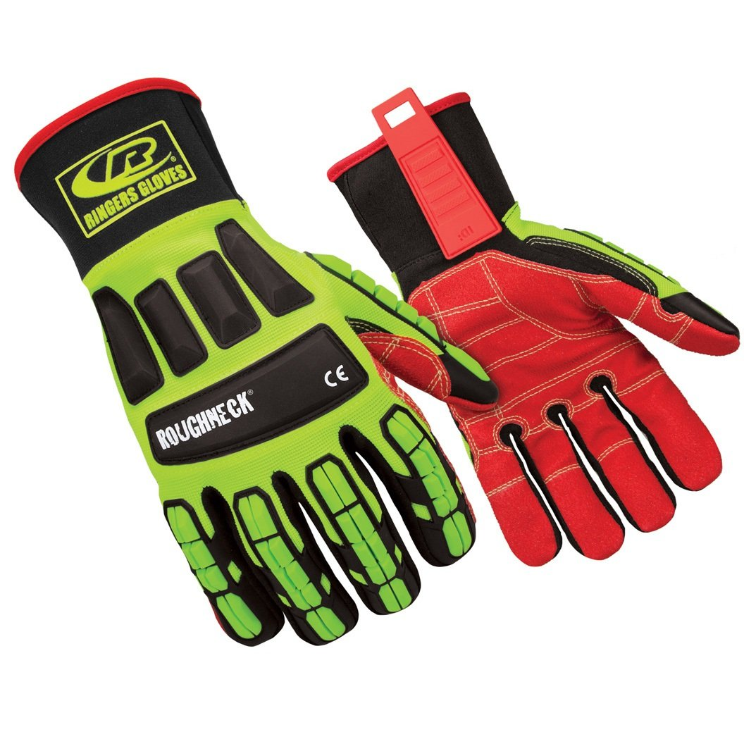 Ringers Gloves R-263 Roughneck LS, Heavy Duty Impact Glove, Limited Slip Grip System, CE Level 2 Cut Protection, Small
