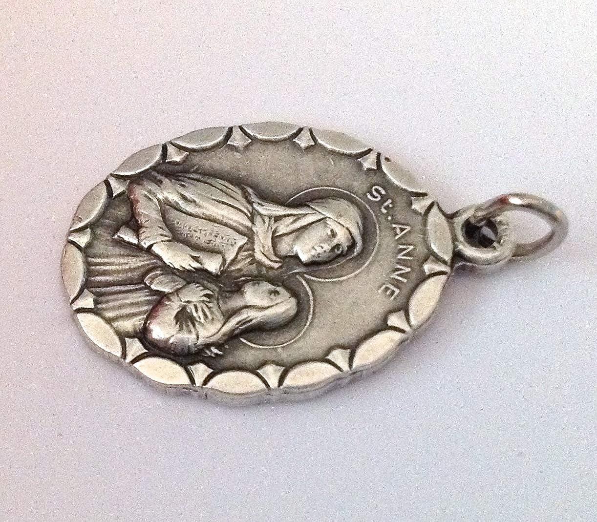 Medalla Ovalada de Santa Ana Madre de la Sant/ísima Virgen Mar/ía Medallas de Santos Patronos