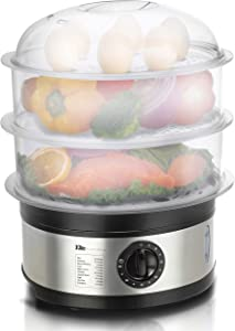 Elite Gourmet EST-2301 Electric Food Steamer with BPA-Free 3 Tier Stackable, Nested Basket Trays, Auto Shut-off 60-min Timer, Veggies, Seafood, Chicken, Egg Cooker, Stainless Steel