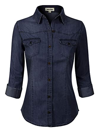 417291c1f6 Instar Mode Women s Roll up Sleeve Button Down Chambray Denim Shirt (S-3XL)