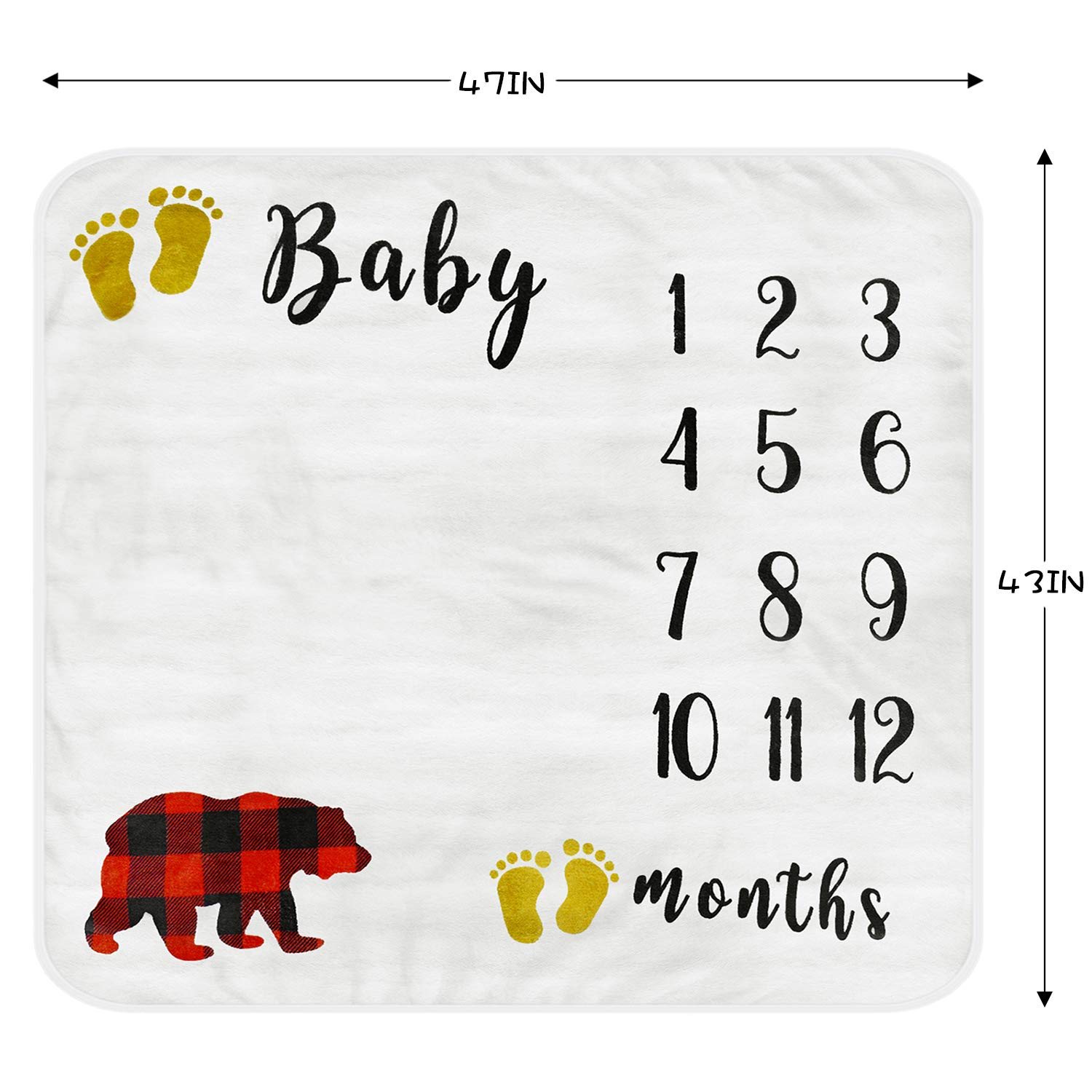 Baby Monthly Milestone Blanket, Organic Thick Fleece Backdrop Memory Blankets, Bonus Floral Wreath + Bib, Best Newborn Boys and Girls Photography Background Prop, Large for Baby Shower Gifts 47x43in