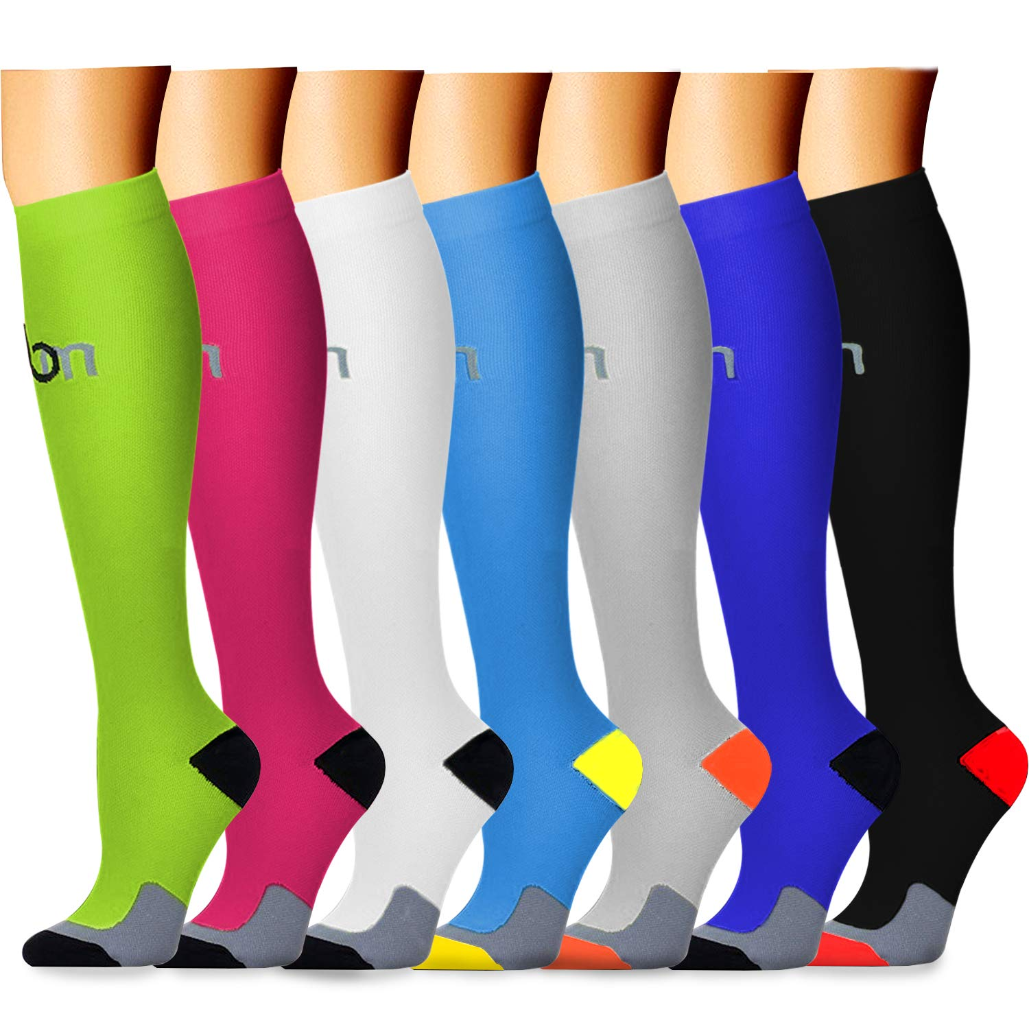 CHARMKING Compression Socks 15-20 mmHg is BEST Graduated Athletic & Medical for Men & Women Running, Travel, Nurses, Pregnant - Boost Performance, Blood Circulation & Recovery(Small/Medium,Assorted 2)