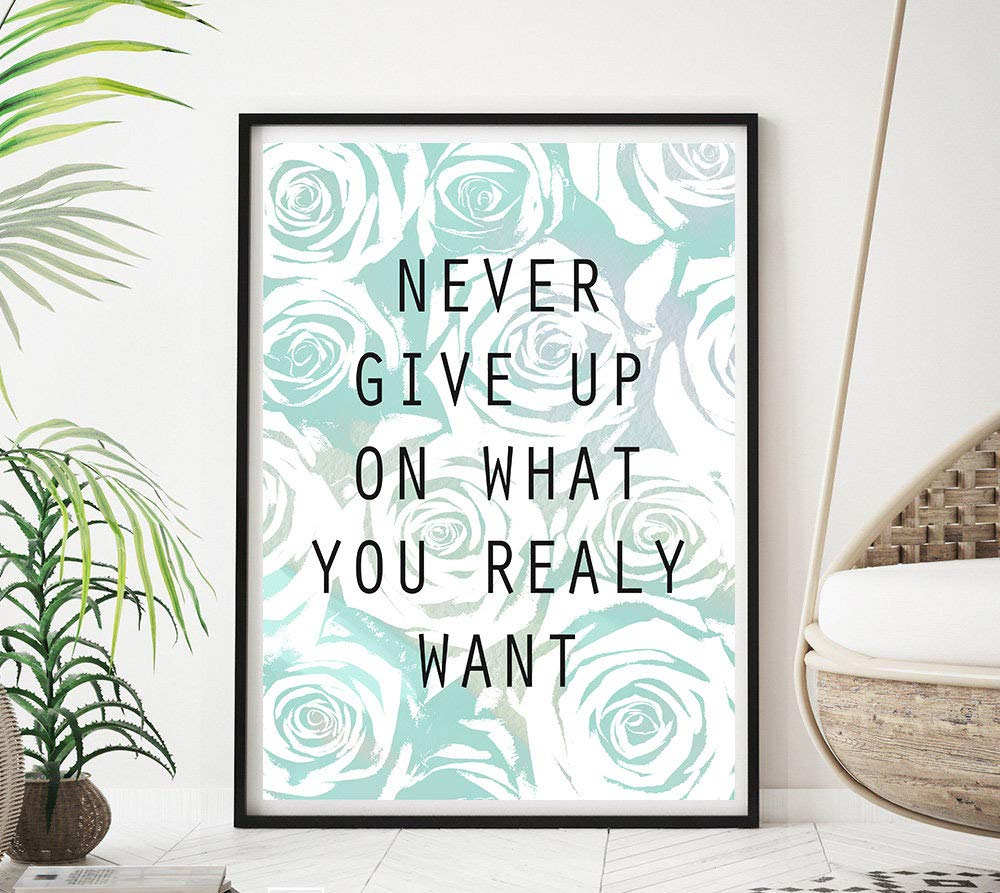 erLesley Never Give Up sign motivational quotes printable printable wall signs watercolor roses typography poster print
