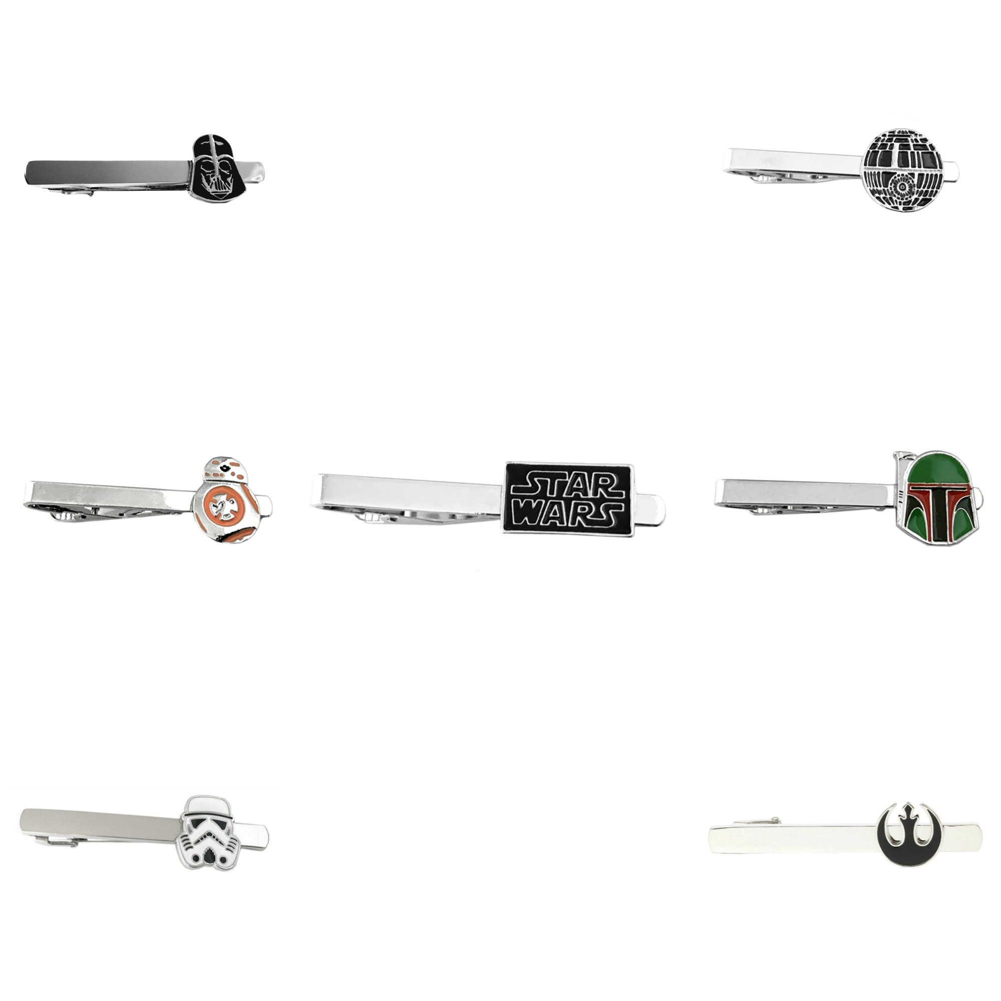 Outlander Star Wars - Star Wars Assorted- Tiebar Tie Clasp Set of 7 Wedding Superhero Logo w/Gift Box