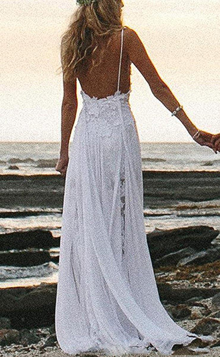 Fishlove Sexy Vestido De Novia Spaghetti Straps Beach Chiffon Lace Bridal Wedding Dresses W52 at Amazon Womens Clothing store: