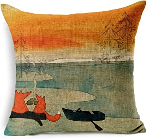 Leaveland Animal Red Fox Thick Cotton Linen Throw Pillow Cover Car Cushion Pillowcase 20x20 inch