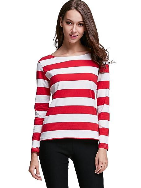 218e35c6ecebd2 HUHOT Red and White Striped Shirt Women Where's Waldo Costume Wenda(XS,  HS6447-