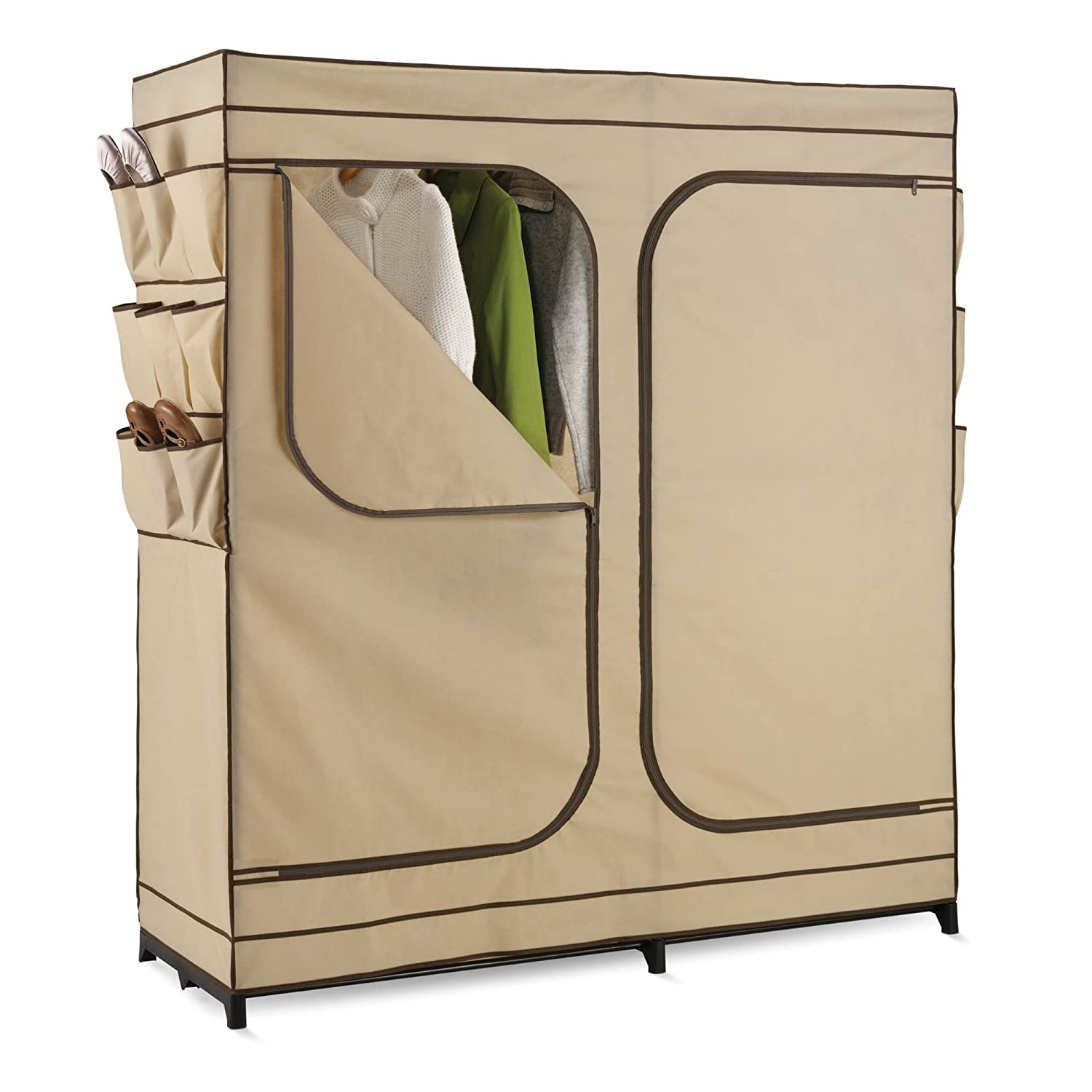 Amazon.com: Honey Can Do WRD 01272 Double Door Storage Closet With Shoe  Organizer, 60 Inch: Home U0026 Kitchen