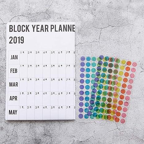 Yongan Calendario 2019 Anual Memo Papel Organizador ...