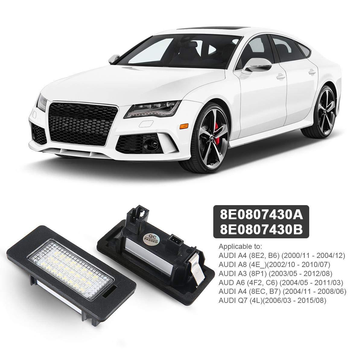 b8 b8 DokFin 2pcs LED Feux De Plaque Dimmatriculation Berline 4 Portes // 5 Portes Avant S4 Lampe De Plaque Dimmatriculation pour Audi A4 A5 // S5 Q5 TT//T \ T RS