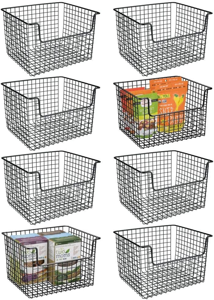 mDesign Metal Kitchen Pantry Food Storage Organizer Basket - Farmhouse Grid Design with Open Front for Cabinets, Cupboards, Shelves - Holds Potatoes, Onions, Fruit - 8 Pack - Black