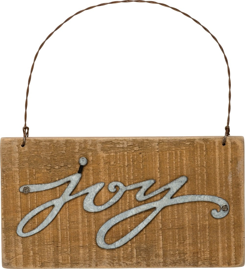 Primitives By Kathy 5.50 Inches x 3 Inches Metal Wire Wood Sign Joy Ornament Home Decor 34869