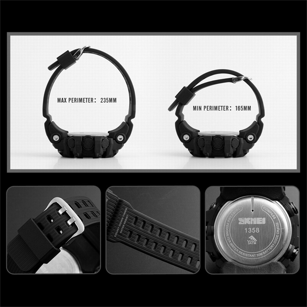 SKMEI Reloj digital para hombre con correa de PU A04AC204680-AN: Amazon.es: Relojes