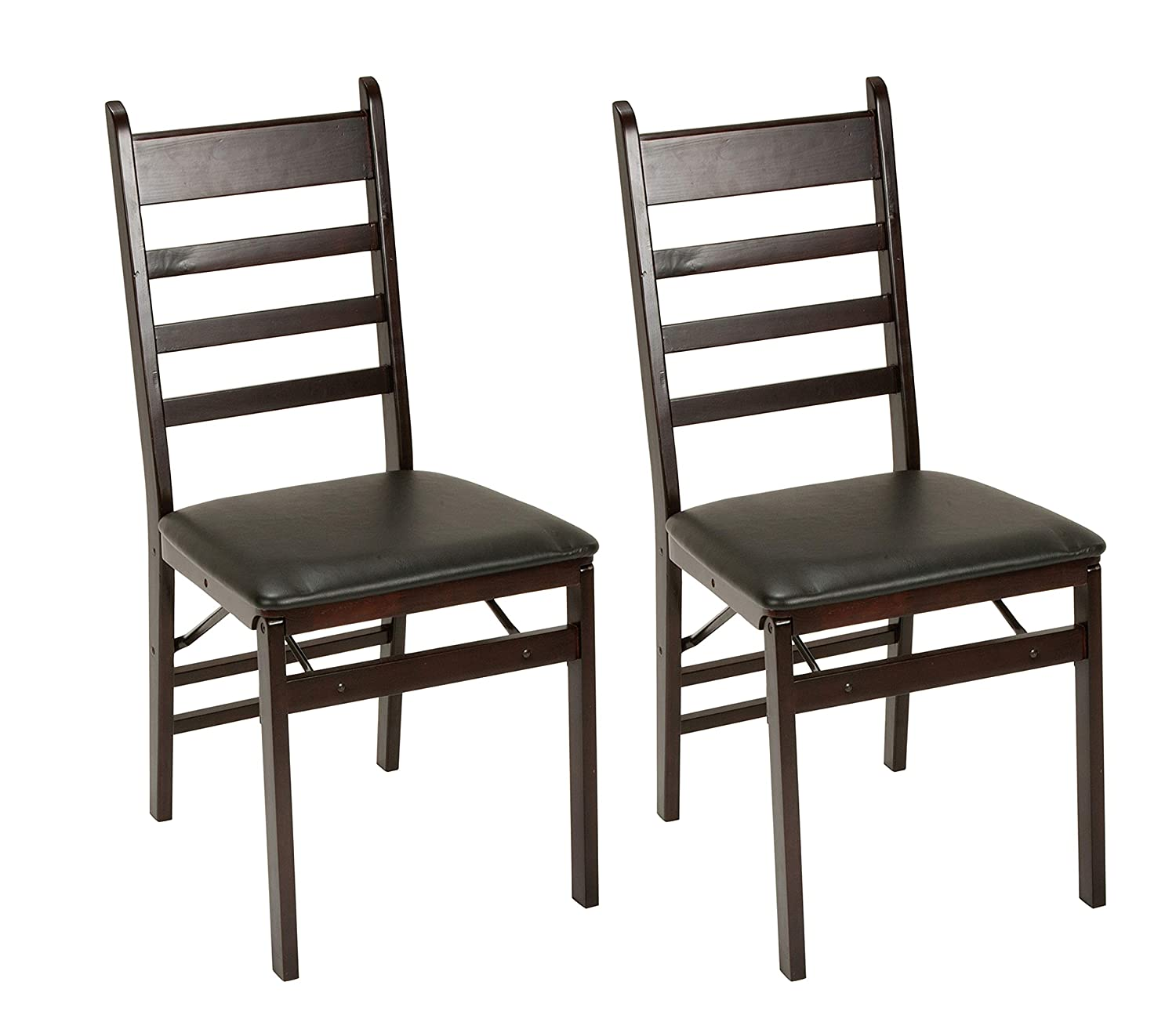 Cosco Espresso Wood Folding Chair with vinyl seat Ladder Back 2-pack