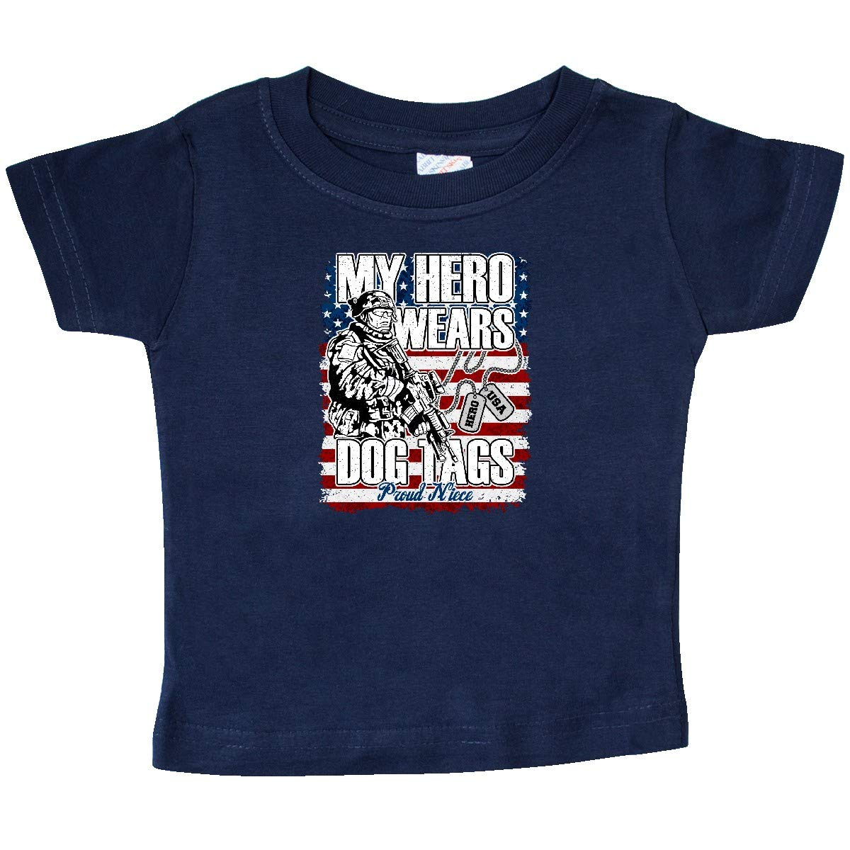 inktastic Proud Military Dog Tags Flag Niece Copy Baby T-Shirt